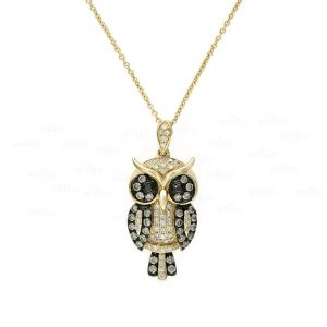 14K Gold Genuine White And Champagne Diamond Owl Pendant Necklace Jewelry