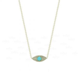 14K Gold Genuine Diamond Turquoise December Birthstone Evil Eye Pendant Necklace
