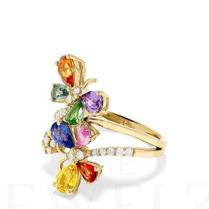 14K Gold Genuine Diamond-Multi Sapphire Gemstone Butterfly Ring Fine Jewelry