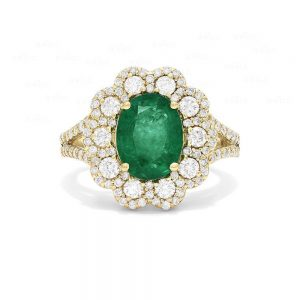 14K Gold Genuine Diamond-Emerald Gemstone Classic Bridal Floral Ring Jewelry