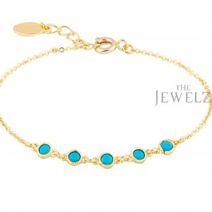 14K Gold Genuine Five Turquoise Gemstone Bracelet Jewelry Gift For Special One
