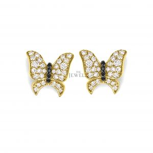 14K Gold 0.33 Ct. Genuine White and Black Diamond Butterfly Earring Fine Jewelry