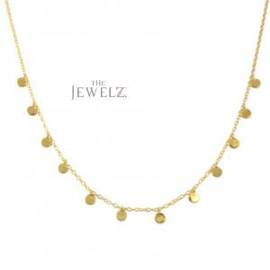 14K Solid Gold Mini Disc Choker Necklace Handmade Fine Jewelry Gift For Her