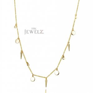 14K Solid Gold Disc Spike Charms Choker Necklace Fine Jewelry Gift For Her