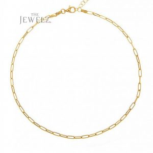 14K Solid Gold Linked Chain Choker Necklace Handmade Fine Jewelry Birthday Gift