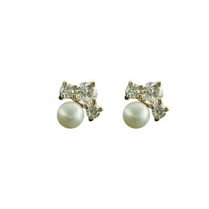 14K Yellow Gold Genuine Diamond And Pearl Gemstone Tiny Minimalist Studs Earring