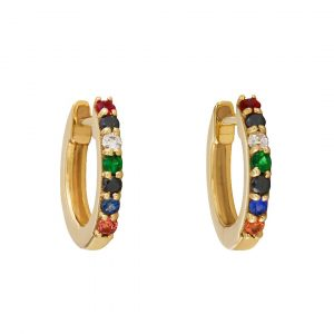 14K Yellow Genuine White-Black Diamond And Multi Sapphire Gemstone Hoop Earrings