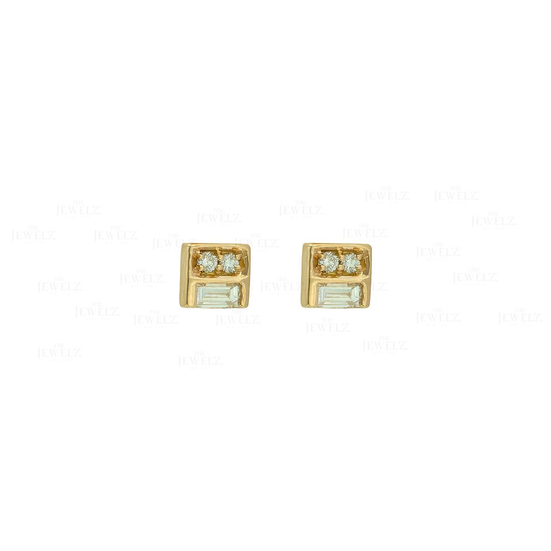 14K Gold 0.12 Ct. Genuine Baguette And Round Diamonds Square Studs Fine Earrings