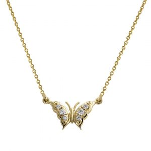 14K Yellow Gold 0.08 Ct. Genuine Diamond Butterfly Charm Pendant Necklace Jewelry