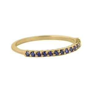 14k Yellow/ Rose Gold Genuine Pave Blue Sapphire Gemstone Delicate Band Ring Jewelry Size-8 & 6 US