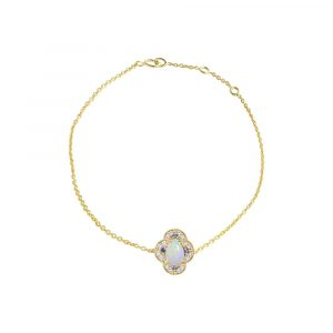 14K Gold Genuine Diamond Opal Blue Sapphire Four Clover Bracelet Fine Jewelry