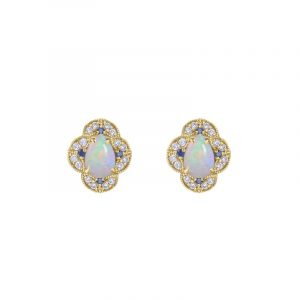14K Gold Genuine Diamond Opal Blue Sapphire Four Clover Earrings Fine Jewelry