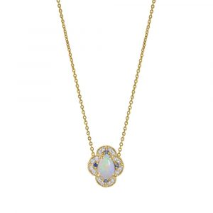 14K Gold Genuine Diamond Opal Blue Sapphire Four Clover Necklace Fine Jewelry