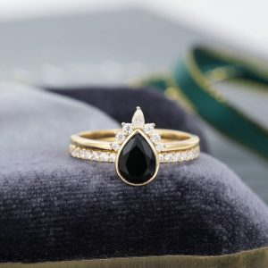 14K Gold Genuine Diamond and Black Onyx Bridal Ring Set Fine Jewelry