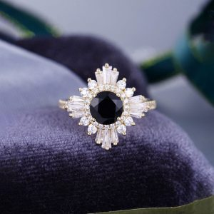14K Gold Genuine Diamond And Black Onyx Art Deco Engagement Ring (1 pc)