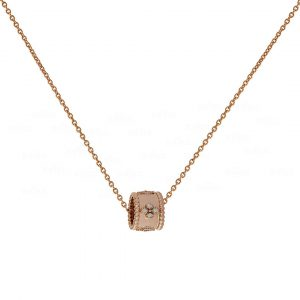 14K Rose Gold 0.18 Ct. Genuine Diamond Unique Beaded Charm Necklace Fine Jewelry