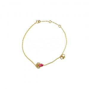 14K Gold Genuine Diamond And Marquise Ruby Gemstone Butterfly Charm Bracelet